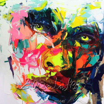 Palette knife painting portrait Palette knife Face Oil painting Impasto figure on canvas Hand ainted Francoise Nielly 16-10