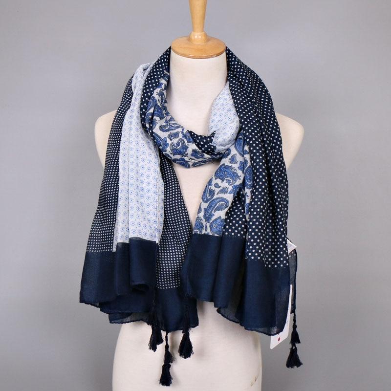 708af59798a8 Femmes printe polka dot de cajou floral bande écharpe bohème viscose châles  glands musulman viscose hijab wraps foulards écharpe