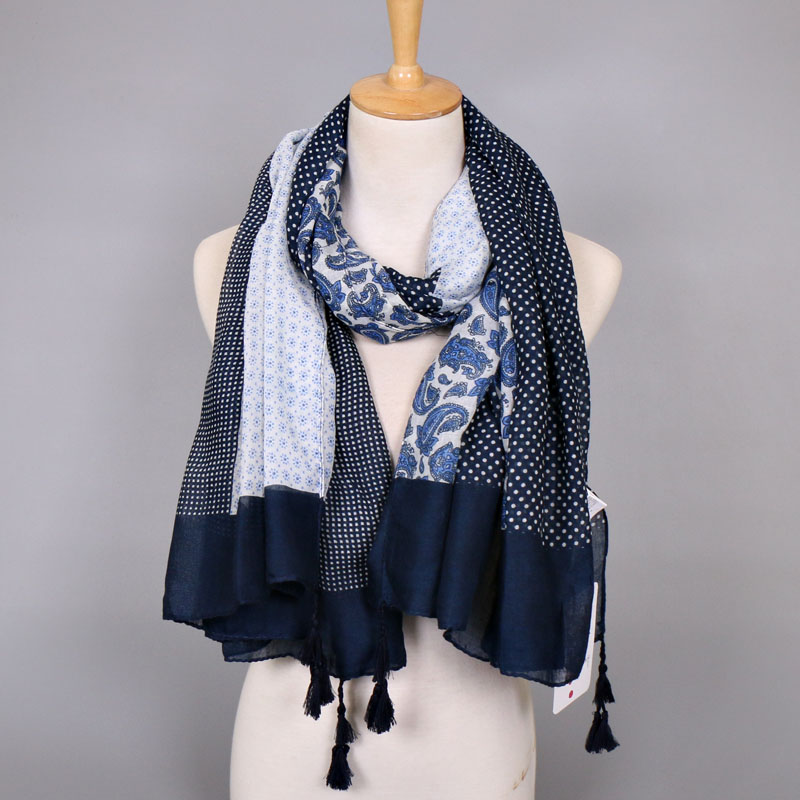 Femmes printe polka dot de cajou floral bande écharpe bohème viscose châles  glands musulman viscose hijab wraps foulards écharpe 79abf29cb28