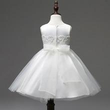 Детские платья кружево белый девочки крещение бальные платья платья без рукавов ну вечеринку платья девушки костюмы