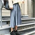 2017 New Spring women velvet skirt lady girl skirts elastic high waist Metal Color fashion women pleated skirt S03