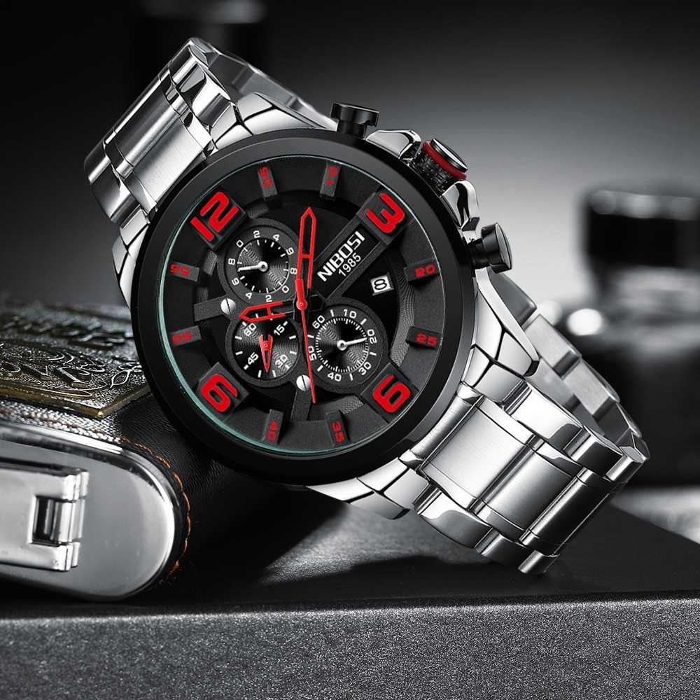 NIBOSI גברים שעון 2018 אופנה Mens שעונים למעלה מותג יוקרה עסקי קוורץ שעון גברים ספורט עמיד למים גדול חיוג שעון + קופסא מתנה