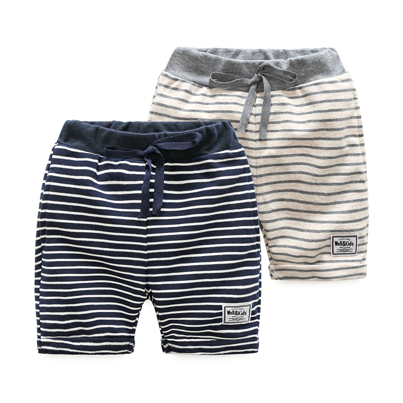 Baby casual striped pants 2018 summer new Korean boy children's children trend pants shorts striped tape applique velvet pants
