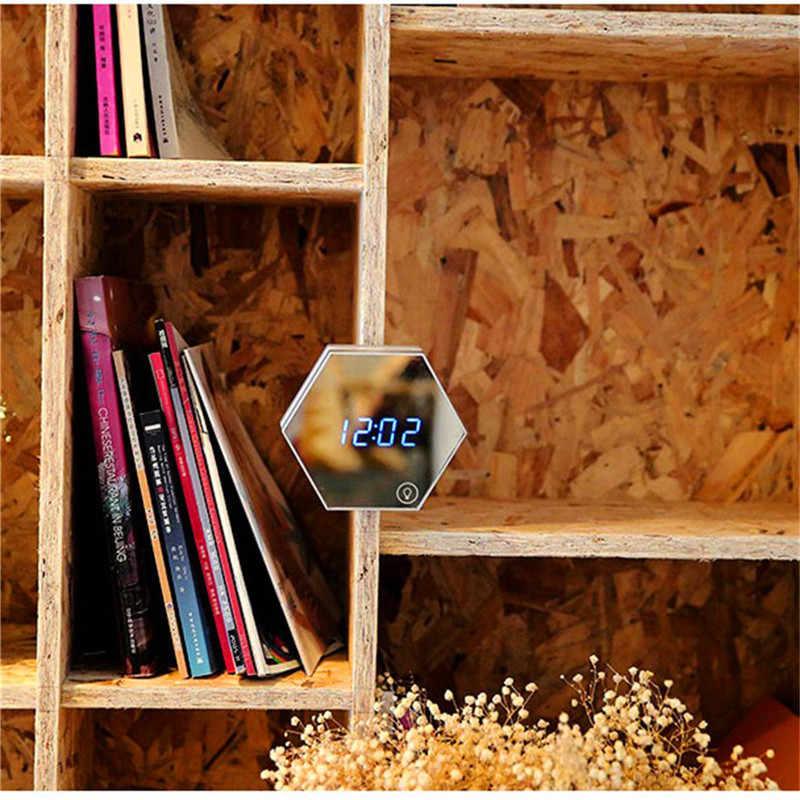 Мульти-функциональное зеркало сигнализации 3d ночник термометр зеркало ночник цифровой светодиодный ночник