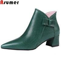 ASUMER/Большие размеры 34–43 Модные ботильоны женские с острым носком молния натуральная кожа сапоги обувь на высоком каблуке на осень зиму сап