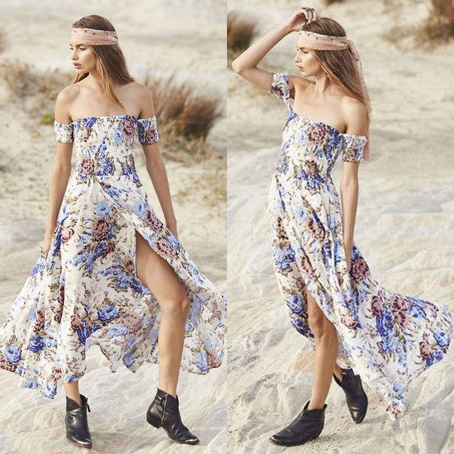 dcb2b7a679c5 Sexy Off Shoulder Boho Floral Summer Beach Long Dress 2018 Women Chiffon  Off White Strapless Bohemian Wrap Maxi Dresses Vestidos