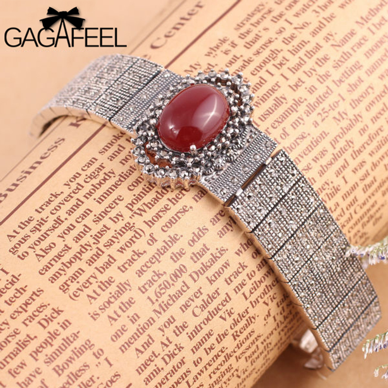 2014 Fashion Women Jewelry Free Shipping 925 Sterling Thai Silver Vintage Watch Band Bracelets Retro Red