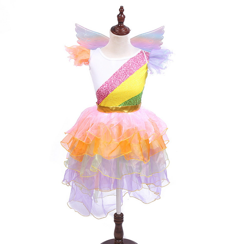 Girls Unicorn Cake Tutu Dresses With Headband Wings Pony Rainbow Costumes Disfraz Unicornio Sets For Kids Halloween Party Dress in Girls Costumes from Novelty Special Use