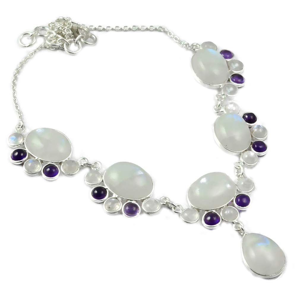 NiaoZaiFei YunZaiKan Nature Rainbow Moonstone + Amethyst Necklace 925 Sterling Silver, 43 cm, MHBNE0056NiaoZaiFei YunZaiKan Nature Rainbow Moonstone + Amethyst Necklace 925 Sterling Silver, 43 cm, MHBNE0056