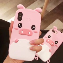 цена на For iPhone 6 6s 7 8 / Plus X XS XR XS Max 3D Cute Cartoon Pink Pig Phone Silicone Case Back Cover Skin For iPhone 3D Case Cover