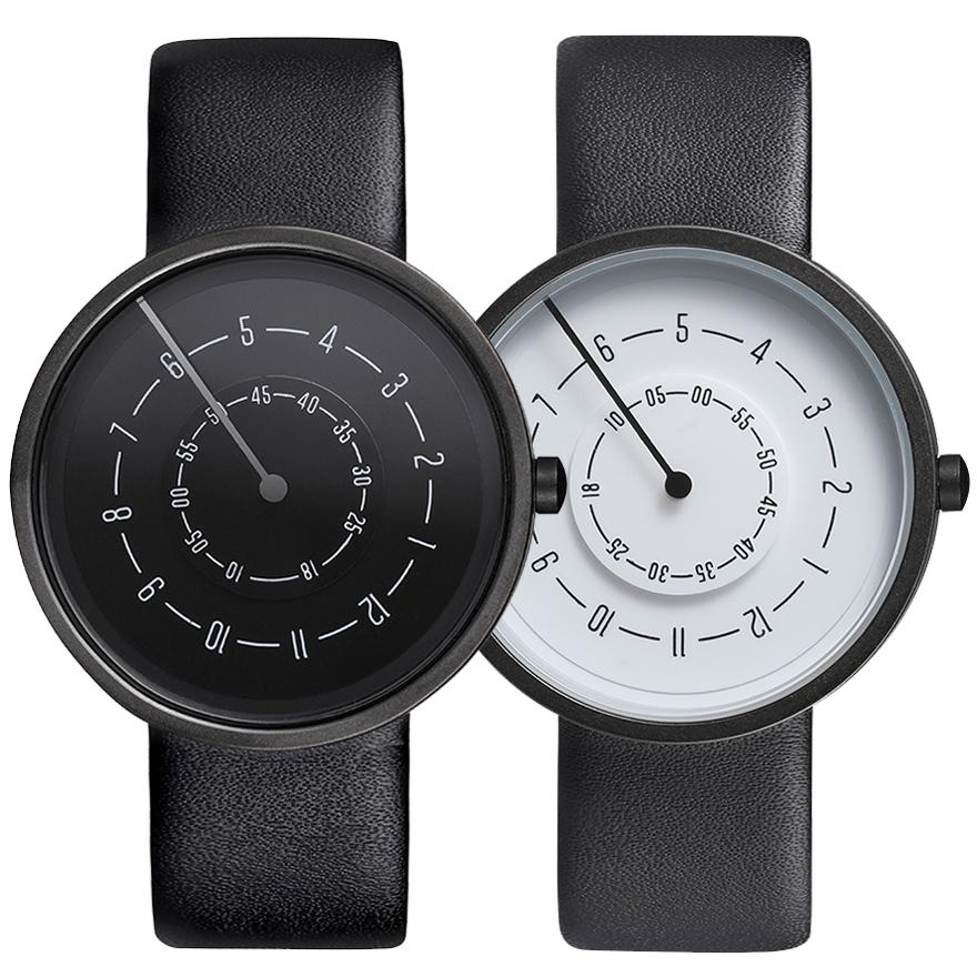 Couple Watch Men Women Black White Turntable Dial Simple Hands Minimalist Wristwatch Casual Soft Leather Sport Male Clock Lovers