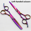 6 inch Left Handed Scissors KASHO Professional Hairdressing scissors sets Cutting+Thinning Barber shears High quality Pink style