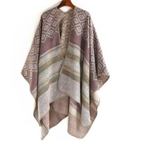 2017 Autumn and Winter Ponchos and Capes Women Plaid Squares Stripes Stitching Fork Soft Shawls Large Pashmina Cashmere Scarf