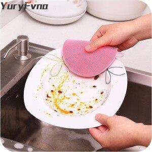 Image 4 - Yuryfvna Siliconen Schotel Spons Antibacteriële Keuken Scrubber Groente Fruit Borstel Spons Afwasborstel Pot Houder