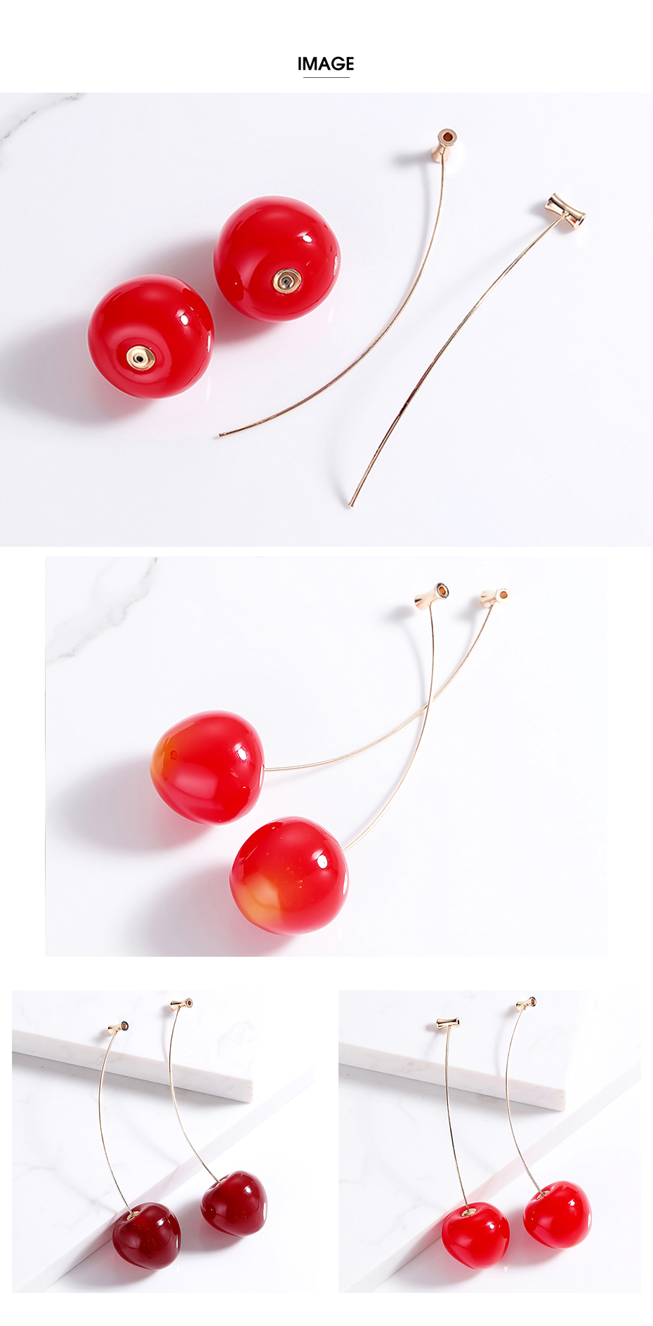 Cute Fruit Cherry Earrings Acrylic Long Red Earrings For Women Removable Elegant Jewelry Wedding Cherry Accessories Jewellery 5