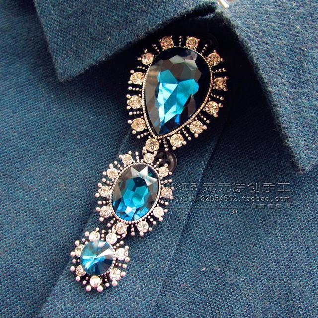Novo Frete Grátis originais Exclusivos Dos Homens da moda masculina Coreano manual de metal longo colar de broca de luxo Britânica gravata azul em venda
