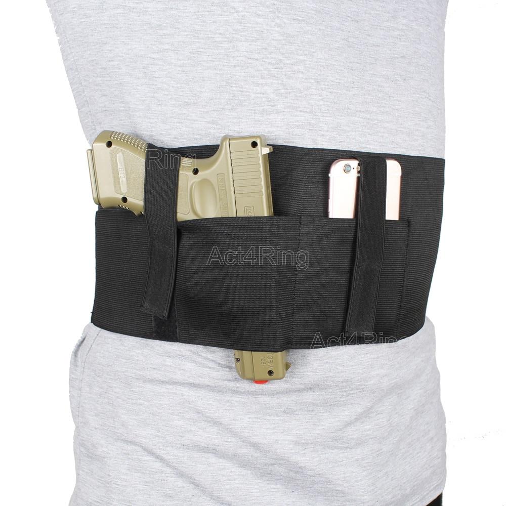 Veelzijdige buikband Holster verborgen draagtas met zakje en 2 elastische bandjes passend bij Glock, Sig Sauer