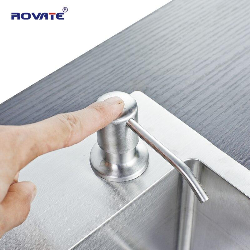 ROVATE Stainless Steel Sink Soap Dispenser (Satin) Threaded Tube For Granite Installs