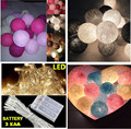 Thai style cotton ball led fairy string lights , party wedding home bedroom camp decor powered by 3*AA battery  portable lamp