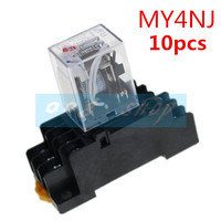 10PCS ZFU MY4NJ DC 12V 24V AC 110V 220V Coil 5A 4NO 4NC Green LED Indicator Power Relay DIN Rail 14 Pin time relay