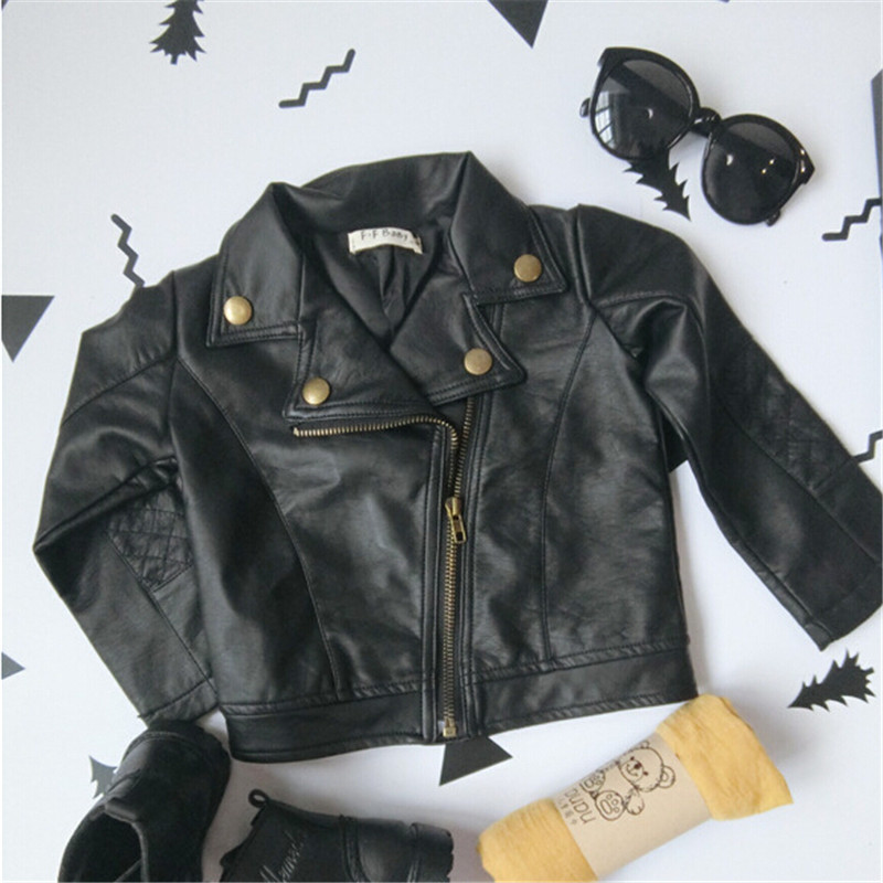 8b90f87d19a2 Fashion New Kids Girl Motorcycle PU Leather Jackets Spring Autumn ...