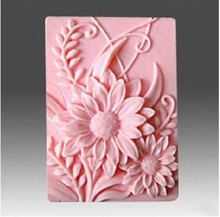 Rectangle Silicone Soap Molds 3D flower Pattern Making Mold