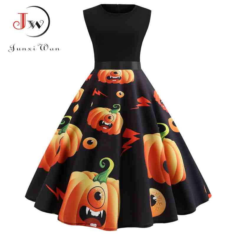 Halloween Vintage Dress Women Pumpkin Print Patchwork Midi Autumn Winter Dresses Long Sleeve Elegant Party Dress Plus Size 5