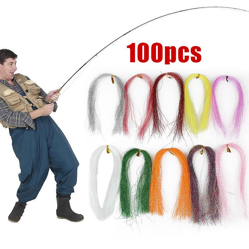 100Pcs /Bag 30CM Crystal Flash Line Rig Bait Making Assorted Fly Tying Streamer Flies Material