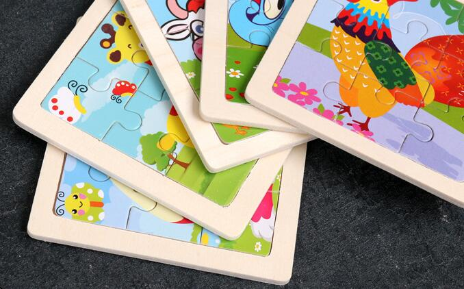 4PCS/lot 3D Wooden Jigsaw Puzzles for Children Kids Toys Cartoon Animal/Traffic Puzzles Baby Educational Puzles Wholesale GYH 5