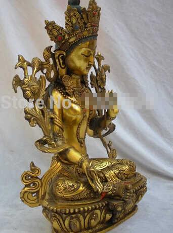"""Бесплатная доставка 16 """"Тибетский буддизм Классическая религиозная позолоченная Бронзовая статуя Святого Будды тары"""