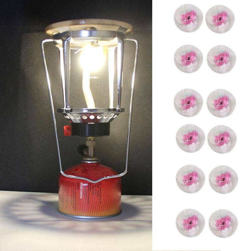 12Pcs Kerosene Lantern Lights Mantles Mesh Gauze Oil Gas Lamp Outdoor Gas Mantle Lamp Mantle Cover Tools