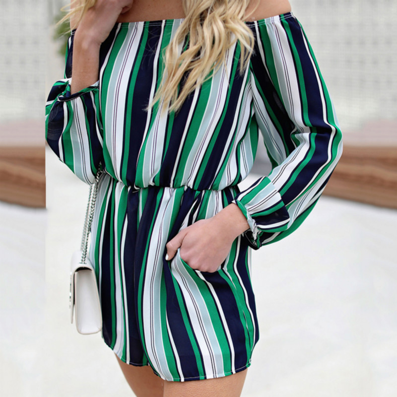 2018 Summer Fashion Women Sexy Off Shoulder Slash Neck Jumpsuit Ladies Striped Print Rompers Casual Solid Overalls Playsuits