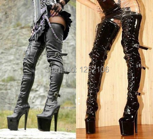 """Wonderheel Women black stylish lace up three buckles 8"""" thin heel over the knee thigh high boots sexy over the knee crotch boots"""