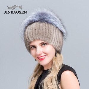 Image 3 - JINBAOSEN Womens winter mink fur hat real silver fox fur warm ski cap natural fur knit fur cap brand fashion Russian style