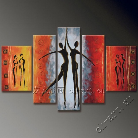 Abstract female body oil painting beauty dance 5 panel black white ...