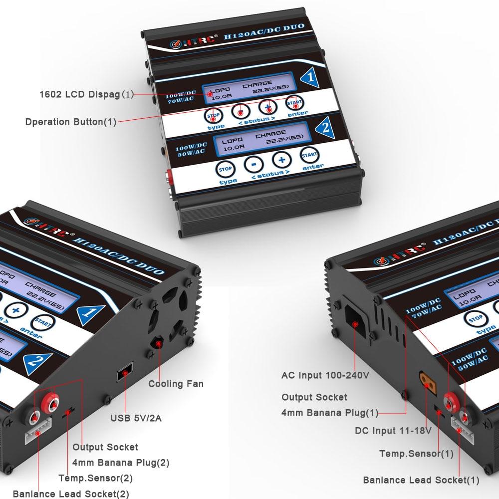HTRC H120 podwójne wyjście 50 W/70 W 100W * 2 10A AC/DC RC równowagi baterii ładowarka/odstojnik dla Lilon/LiPo/LiFe/LiHV/akumulatora Pb w Części i akcesoria od Zabawki i hobby na  Grupa 3