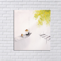 Handpainted Wall Pictures Abstract Ferrymen Simple Art Oil Painting Canvas Scenery Wall Stickers Home Decorative Oil Paintings