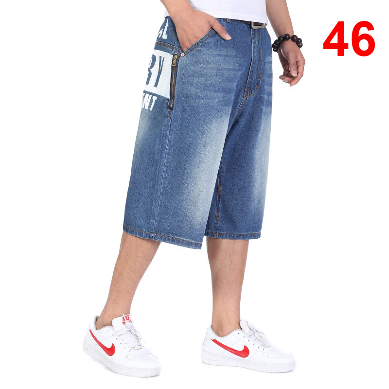 Baggy Jeans Men Denim Calf Length Pants Loose Streetwear Jeans Casual Summer Skateboard Pants for Men Big Size Trousers HN18 in Jeans from Men 39 s Clothing