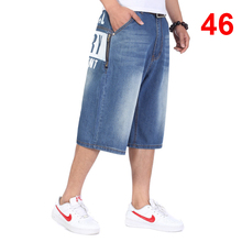 цена на Baggy Jeans Men Denim Calf-Length Pants Loose Streetwear Jeans Casual Summer Skateboard Pants for Men Big Size Trousers HN18