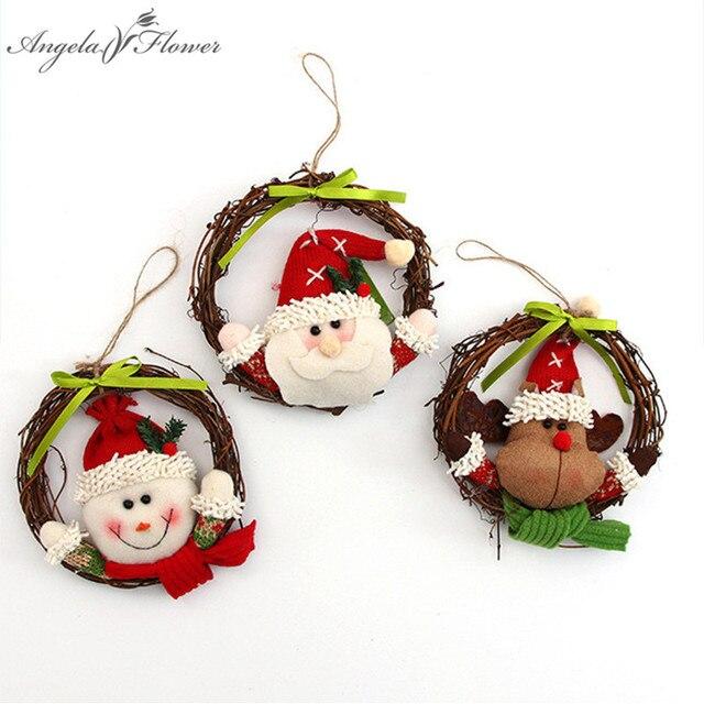 christmas decor 14cm santa claus doll decor artificial wreath rattan ring garland christmas tree decor pendant