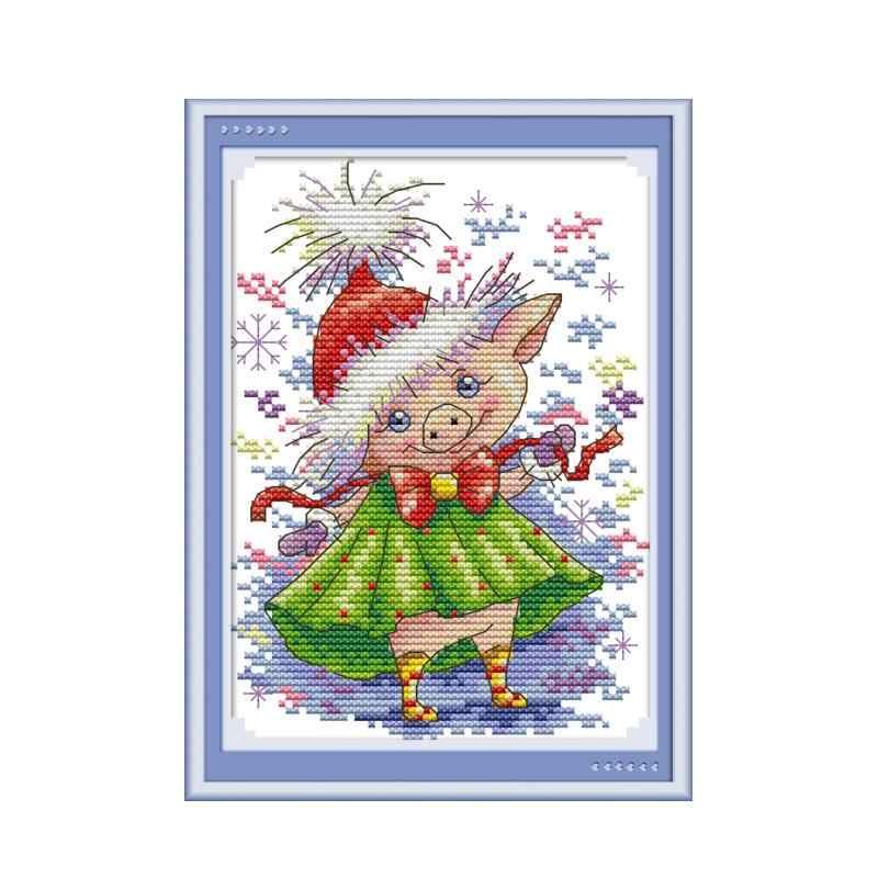 Joy Sunday вышивка крестиком напечатаны крест сшивание Красивая свинка 2 Aida 14ct 11ct DMC нить DIY рукоделие холст живопись