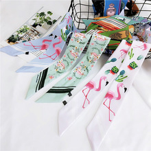 Women Skinny Scarf Floral Flamingo Cat Printing Chiffon For Female Foulard Fashion Neckerchief Bag Head Scarves