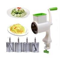 BEEMSK manual vegetable cutter rotary grater 4 replaceable drums potato fruit cheeses slicer vegetable Shredder Kitchen Gadgets