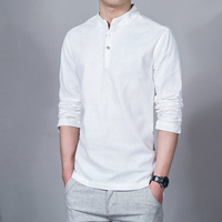 New Spring Summer Casual Men S Linen Shirts Long Sleeve Solid Mandarin Collar Fashion Shirt Mens