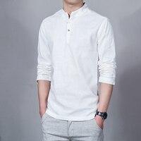 New Spring Summer Casual Men S Linen Shirts Long Sleeve Solid Mandarin Collar Fashion Shirt Mens