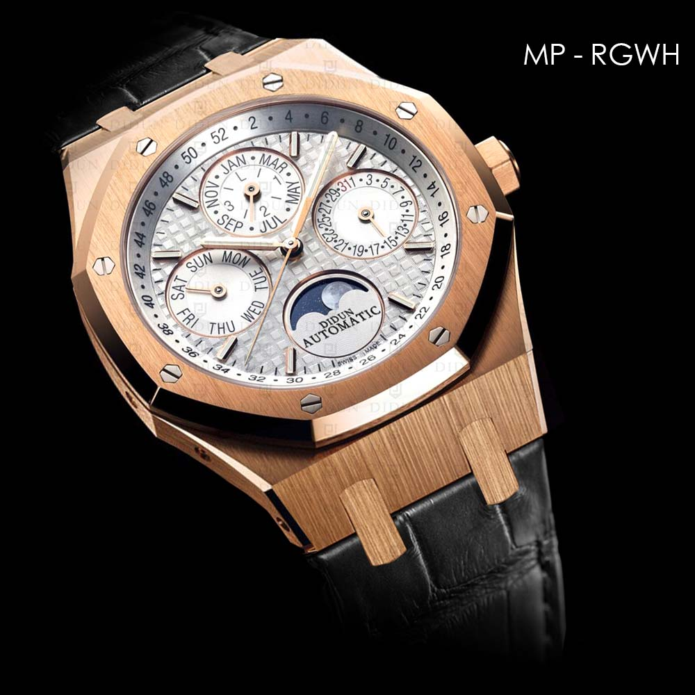 Mechanical Automatic Sliver Watch Watch Leather Strap Moonphase Wristwatch