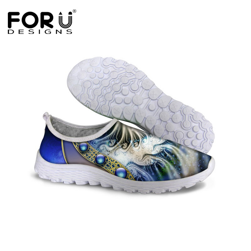 цены FORUDESIGNS 2017 Autumn Summer Women Flat Shoes Breathable Slip on Mesh Walking Shoes Female Flats Zapatillas Deportivas Mujer