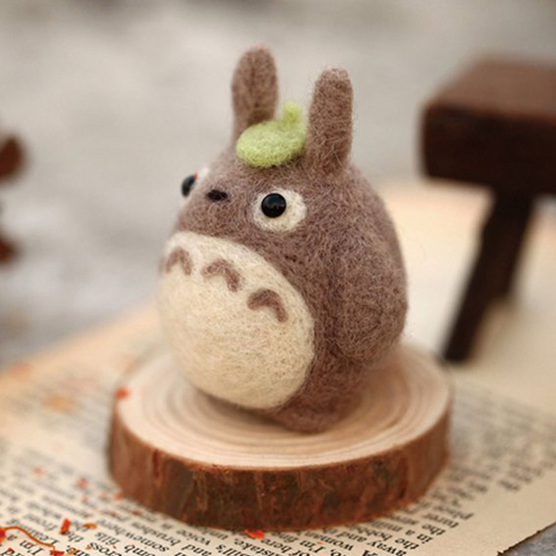 2019 Cartoon Cute Totoro Wool Felting Toy Doll Wool Felt Poked Kitting DIY Package Non-Finished For Women Girls