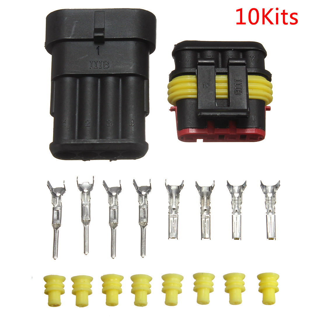 10 Kits Car Auto 4 Pin Way Sealed Waterproof Electrical Wire Connector Plug Sets black 50 sets 4 pin dj3041y 1 6 11 21 deutsch connectors dt04 4p dt06 4s automobile waterproof wire electrical connector plug