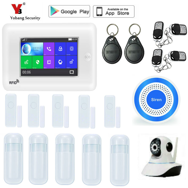 Yobang Security Touch Screen Alexa Version 433MHz GSM WIFI Home Security Monitor Alarm System Kit IP Camera Smoke Fire Sensor qolelarm spanish polish touch screen home alarm security system gsm wifi mini ip camera free cloud service door sensor 433mhz page 3